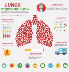 lungs infographic design with set of flat icons vector image vector image