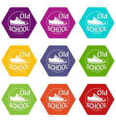 old school icons set 9 vector image