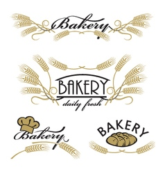 set of bakery product logos vector image