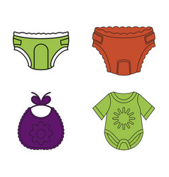 baby clothes icon set color outline style vector image