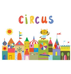 Circus background with funny builidngs animals and vector image vector image