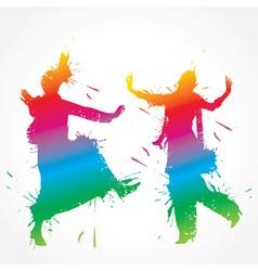 Colorful bhangra and gidda dancer vector image