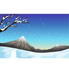 Nature scene during the snow time vector image