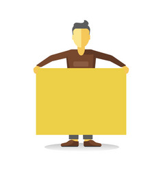 Striking man holding empty yellow banner isolated vector