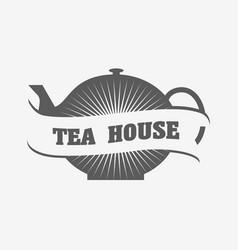 tea house logo or badge template with tea pot vector image
