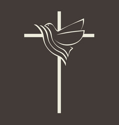 the cross of jesus and the dove vector image vector image