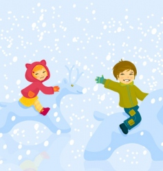 boy and girl plaing vector image