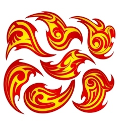 Fire flame tattoo set vector image vector image