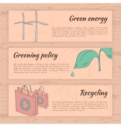 Hand drawn ecology cards vector image