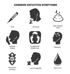 Hepatitis symptoms icons set vector image