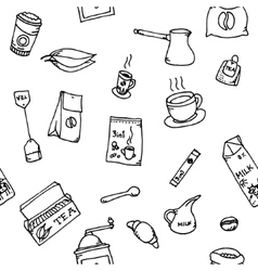 Seamless pattern set of coffee and tea vector image vector image