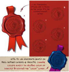 Wax seal - shield sefe and secure vector