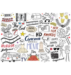 cinema and film industry set hand drawn sketch vector image