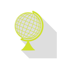 earth globe sign pear icon with flat style shadow vector image