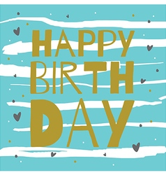 Happy birthday gold on blue vector