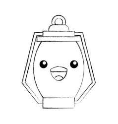 kawaii kerosene lamp camping cartoon vector image