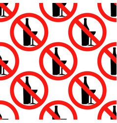 no alcohol sign icon seamless pattern on white vector image vector image