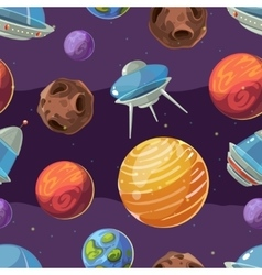 Seamless space kids pattern with planets vector image