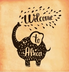 A poster on aged paper A trip to Africa Safari vector image