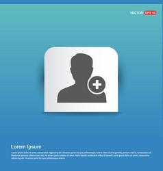 Add user icon - blue sticker button vector