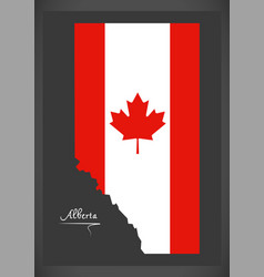 alberta canada map with canadian national flag vector image