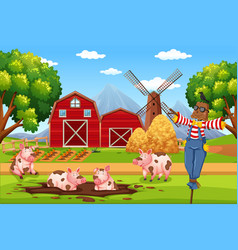 barn house in rural landscape vector image