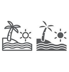 beach line and glyph icon travel and vacation vector image