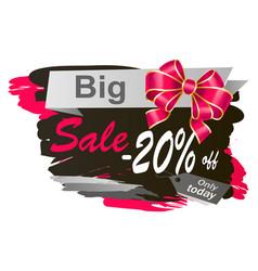 Big sale 20 percent off promotional banner vector