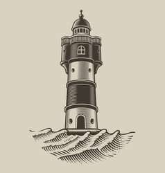 black and white a lighthouse vector image