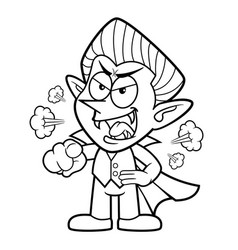 Black and white dracula mascot getting angry vector
