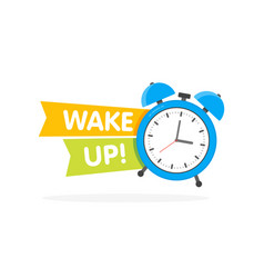 blue alarm clock with sign wake-up time isolated vector image