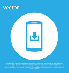 blue smartphone with download icon isolated on vector image