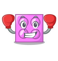 Boxing toy brick character cartoon vector