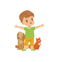 Brave little boy protecting and caring for animals vector