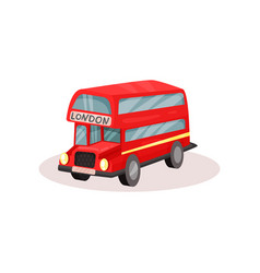 bright red double decker bus popular public vector image