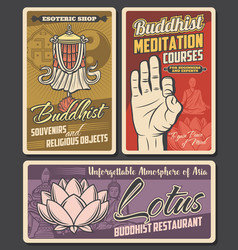 Buddhism religion retro posters vector