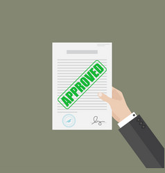 Businessman hand hold approved document vector