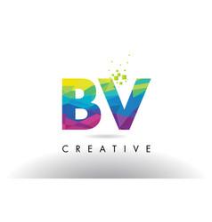 Bv b v colorful letter origami triangles design vector