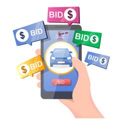 Car auction online concept for web banner vector
