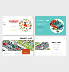 car service and traffic jam websites vector image