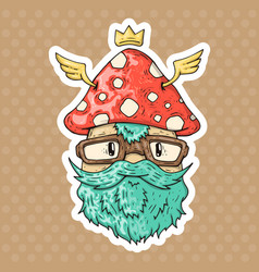 Cartoon hipster mushroom vector