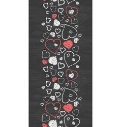 Chalkboard art hearts vertical border seamless vector image