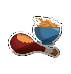 Chicken leg shredded bowl vector
