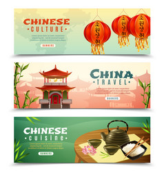 china travel horizontal banner set vector image vector image