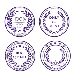 Circular guarantee label set on white background vector