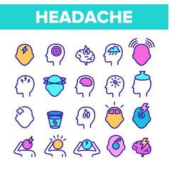 Color headache elements icons set vector
