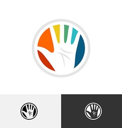 Colorful hand logo vector