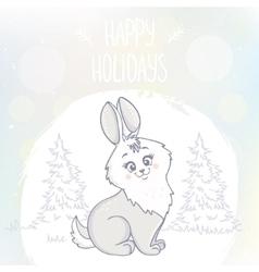 cute bunny character vector image