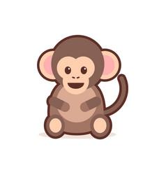 cute little monkey cartoon comic character vector image
