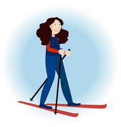 cute ski girl vector image